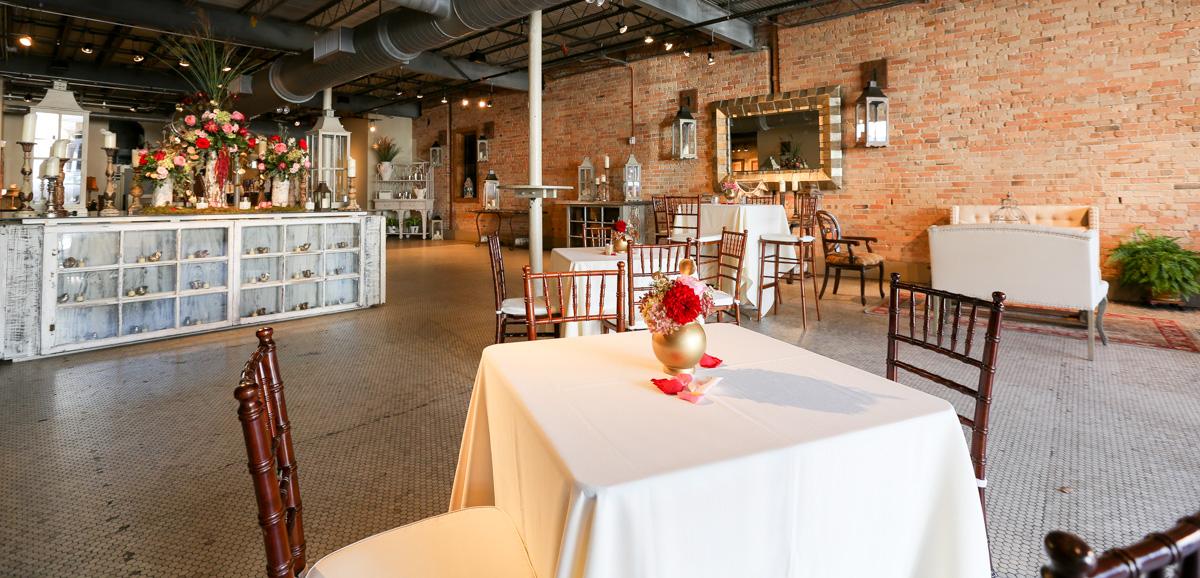 Market Level wedding setup at The Venue in Asheville
