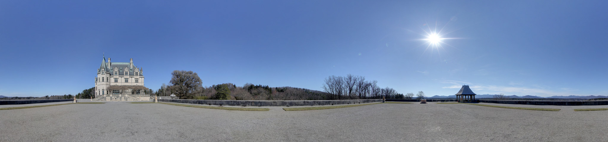 Panoramic view of the South Terrace at Biltmore Estate in Asheville.
