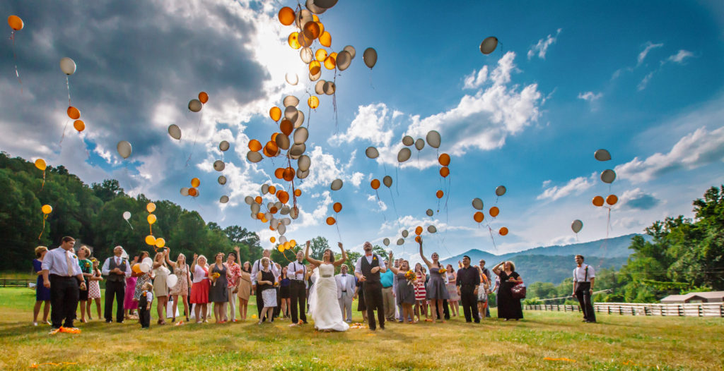 Asheville Wedding Photographer - Wedding at fields of Blackberry with ballons