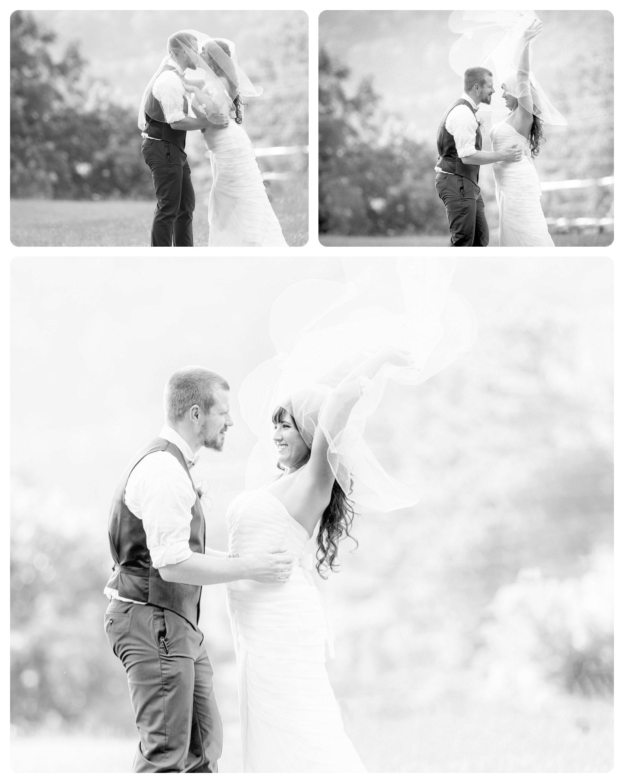 Set of three real black and white anthropologie wedding photos.