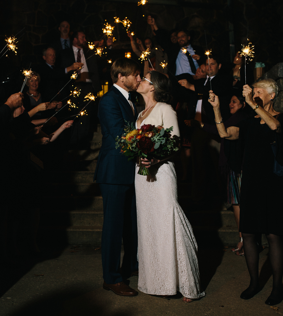 Bride & groom with one more kiss with sparklers all around right before exiting
