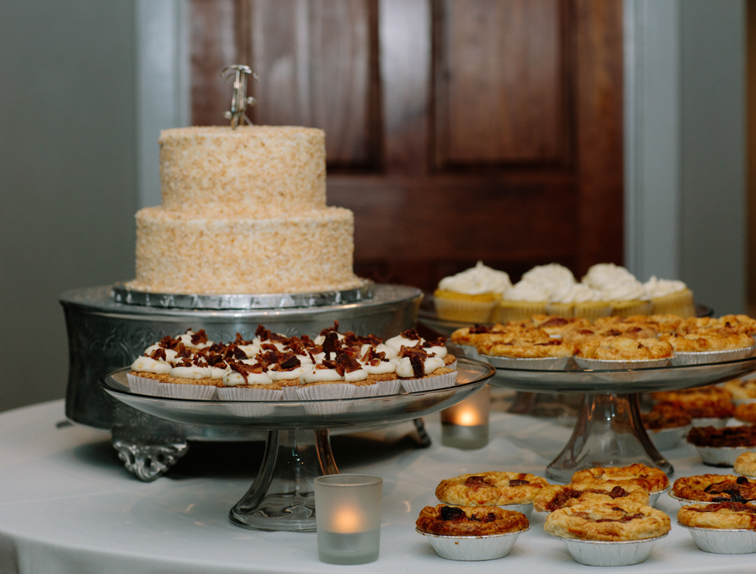 Dessert table with lit candles