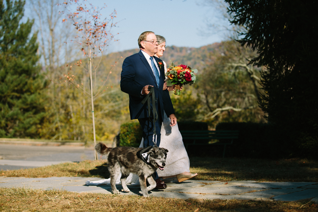 Heather and her father walking down the aisle with old dog wearing tuxedo