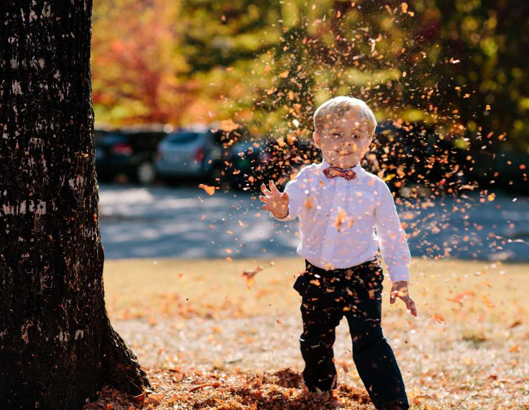 Young little boy throwing leaves up in the air