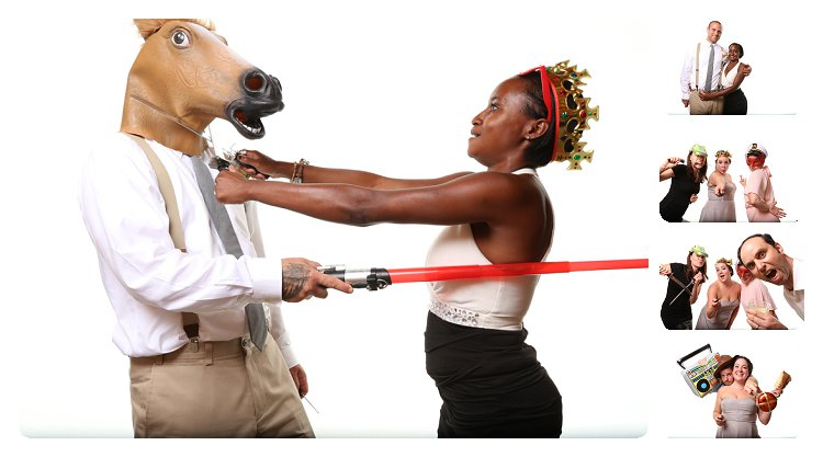 Examples from our photo booth, guest wearing horse head mask and wielding light sabers