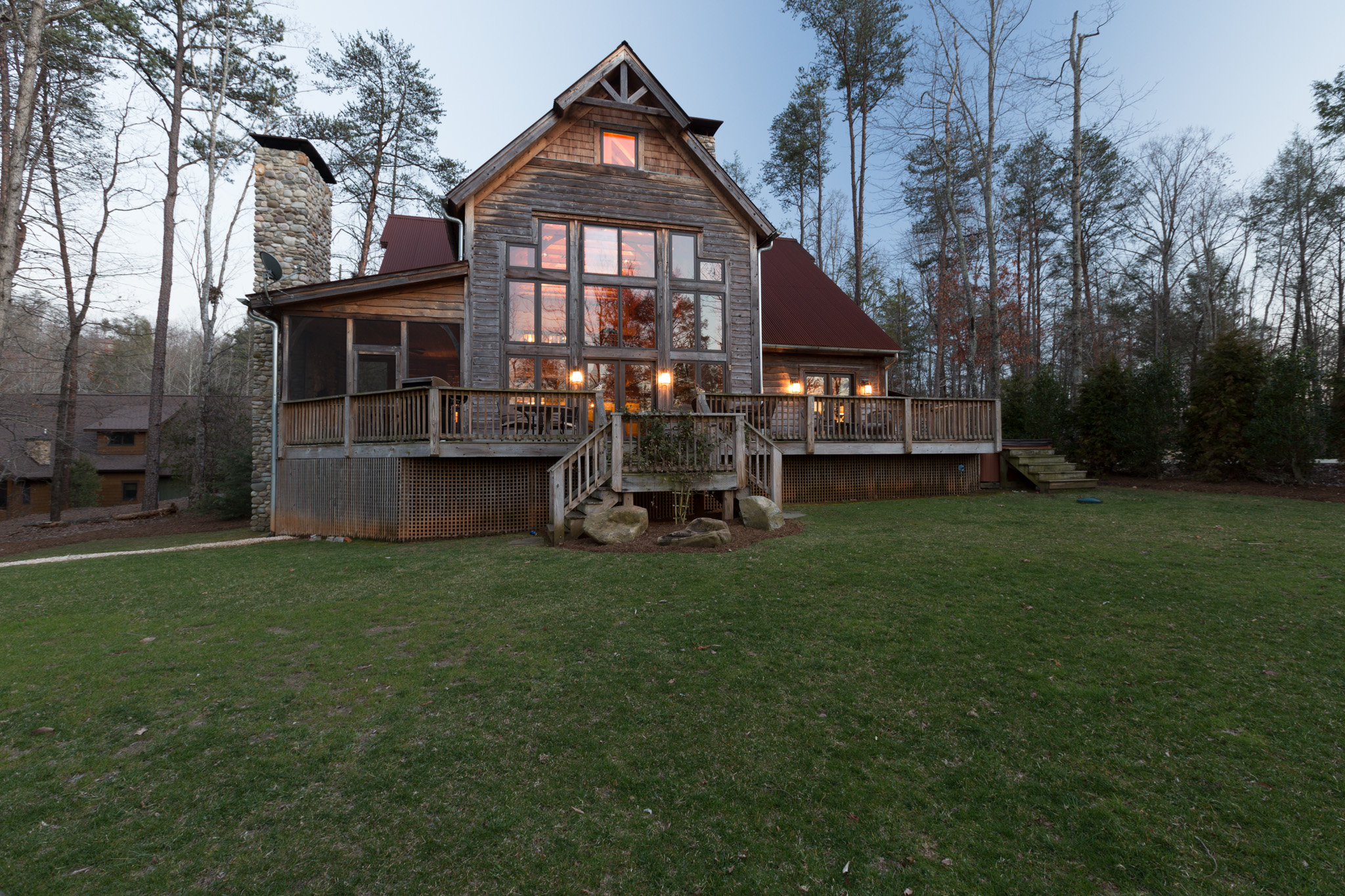 Night shot of 48 Cottage Grove taken for  Lake James Real Estate Photography