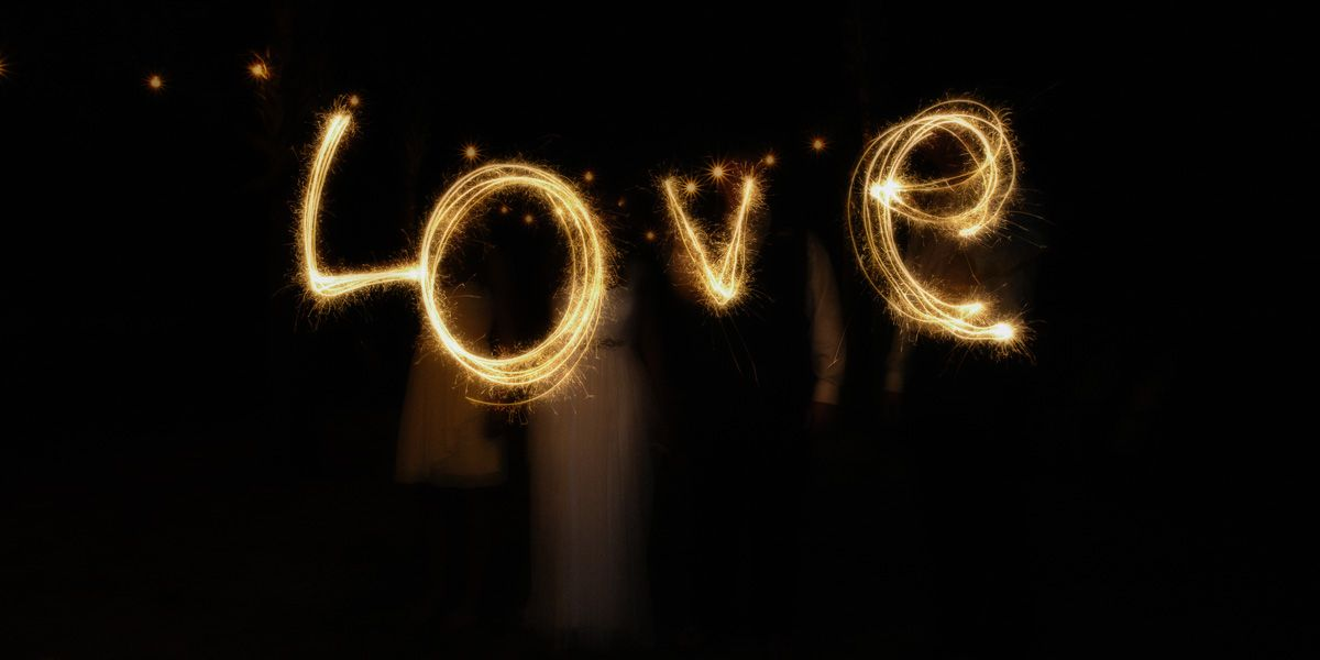 Wedding Party using Sparklers to write the word LOVE - Asheville Wedding Photographer