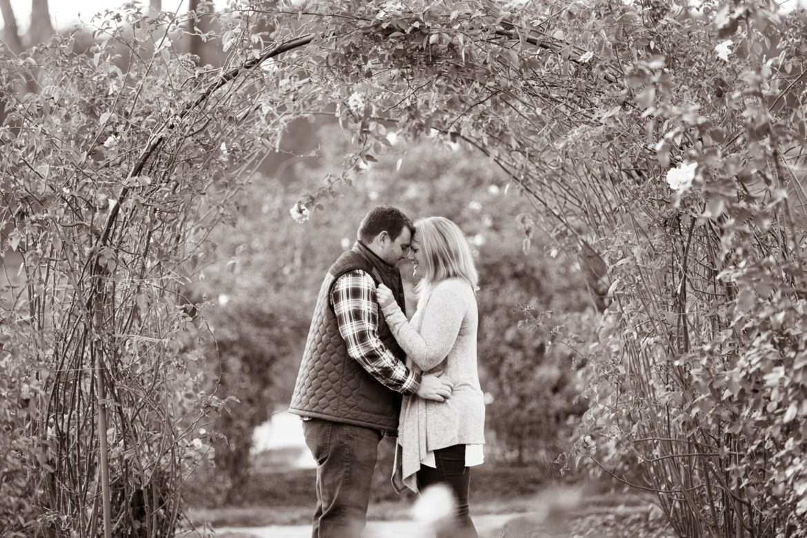 Proposal Photography at the Biltmore Estates in Asheville NC. Image in the rose garden of the Biltmore.