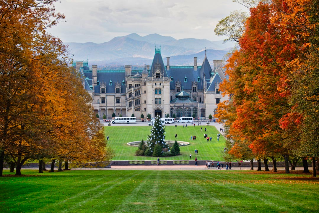 View from Diana Hill on Biltmore Estate at peak leaf season.
