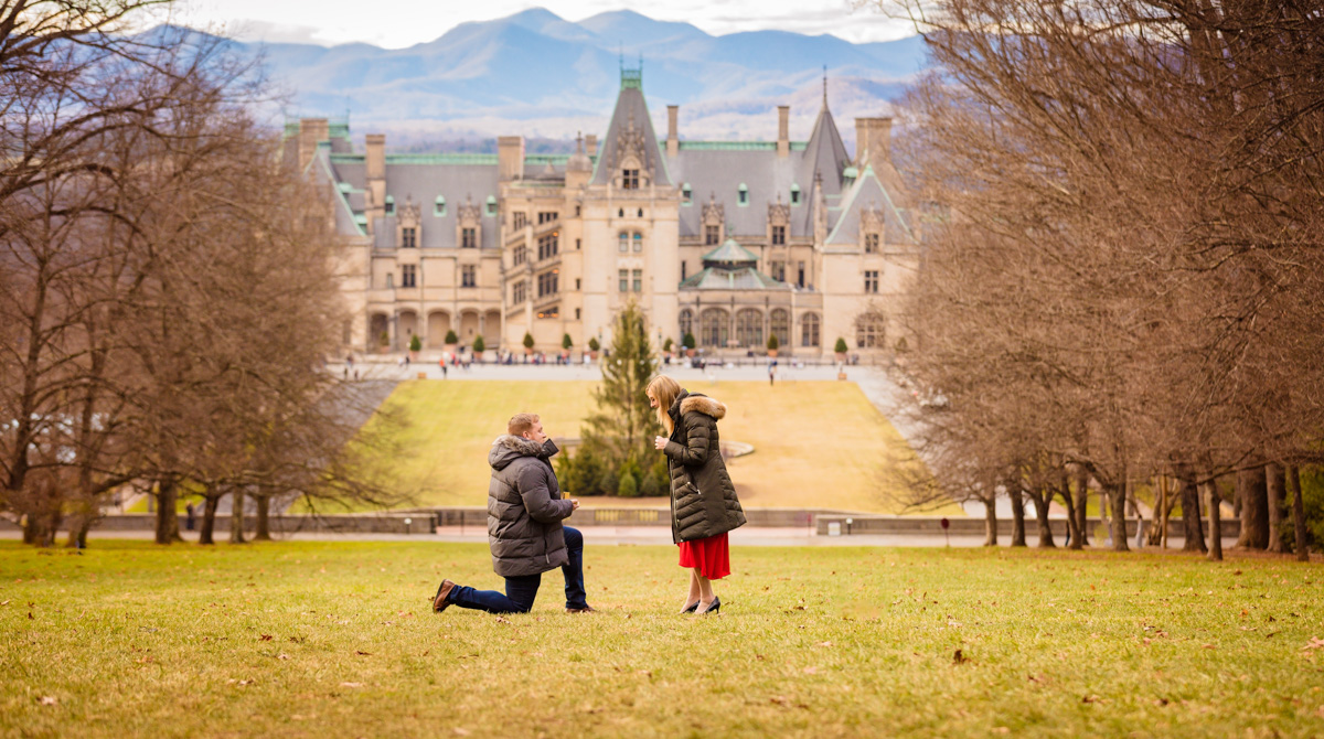 Proposal at Biltmore Estate in Asheville during the Winter